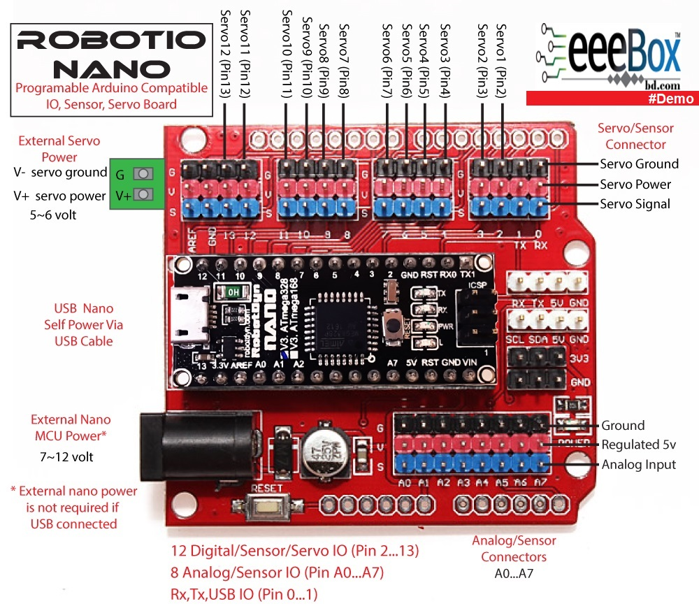 Arduino nano Multifunction expansion board V3.0 - Eee Box BD || Online Shop Anytime Anywhere